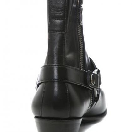Handmade Men Black Side Zipper Boot..