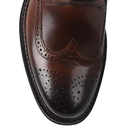 Handmade Men Brown Wingtip Brogue A..