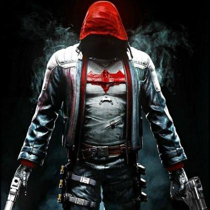 Mens Red Hood Jacket, Leather Jacke..