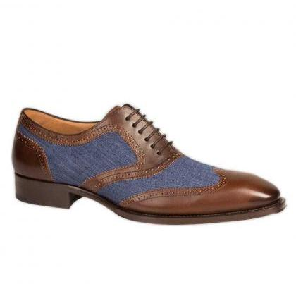 Handmade Men Wingtip Two Tone Forma..