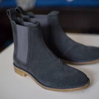 Handmade Men Dark Gray Suede Chelse..