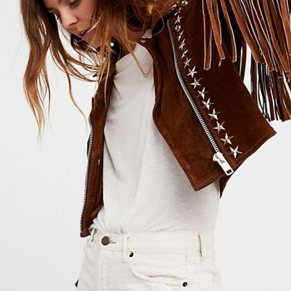 Women Brown Rock Punk Style Studded..