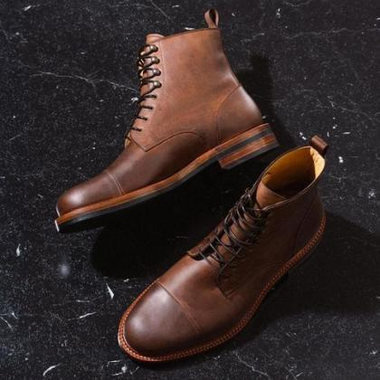 Handmade Antique Brown Pull up Leather Ankle Boots, Men Cap Toe Ankle Boot