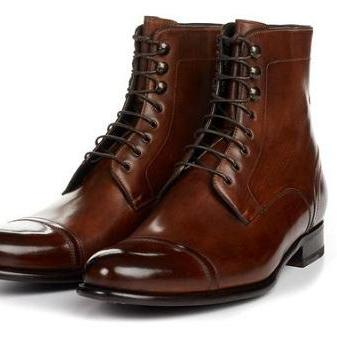 Handmade Men Cap toe brown ankle Leather boot, Men leather dress boot