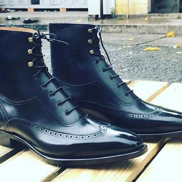 Handmade Mens Navy Blue Wingtip Brogue Dress Boots, Men Ankle Leather Boot