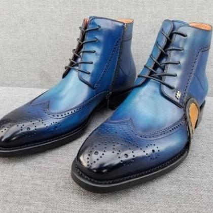 Men Blue Wing Tip Brogue Round Toe ..
