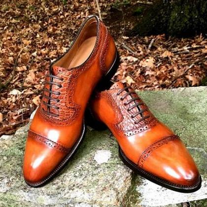New Men Tan Color Brogue Lace up Le..