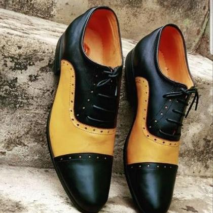 New Two Tone Brogue lace up leather..