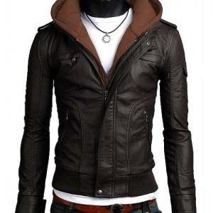 Men brown fabric hooded leather jac..