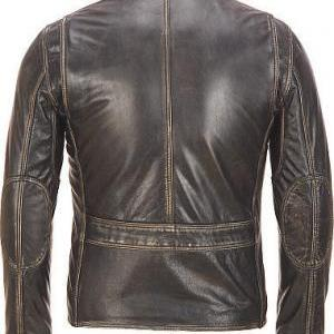 MEN BROWN DISTRESSED BOMBER LEATHER..