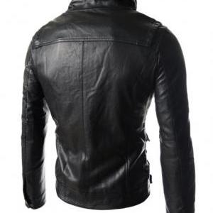 Men stand collar leather jacket wit..