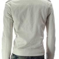MEN WHITE SLIM FIT LEATHER JACKET,S..