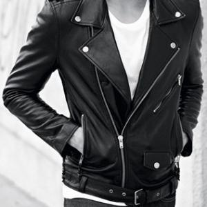 Men black real leather jacket, men ..