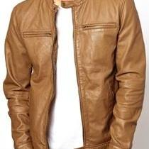 MEN REAL LEATHER JACKET , MEN TAN B..