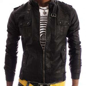 Handmade men slim leather jacket, b..