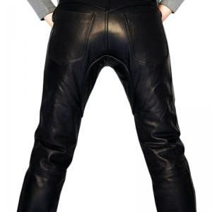 Handmade men leather jeans black le..