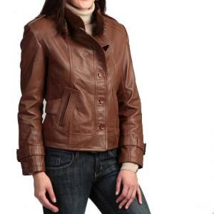 Handmade women brown leather jacket..