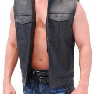 Men real leather vest, black men ve..