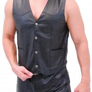 Men real leather vest, men biker le..