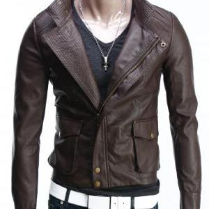 men slim fit leather jacket,leather..