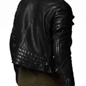MEN BLACK BIKER LEATHER JACKET, REA..