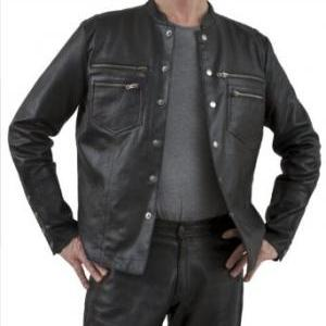 Men leather shirt, 6 front button s..