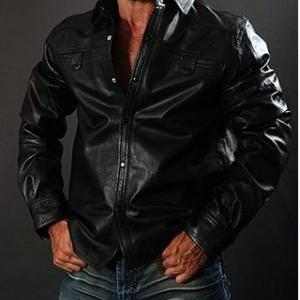 Long Sleeve Leather Shirt, mens shi..