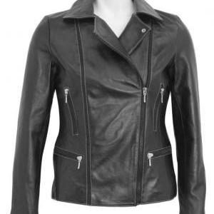 Stylish Women Biker Jacket, black w..