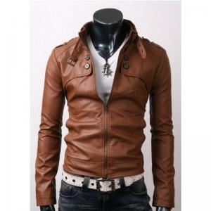 RIDER BROWN LEATHER JACKET WITH BUT..
