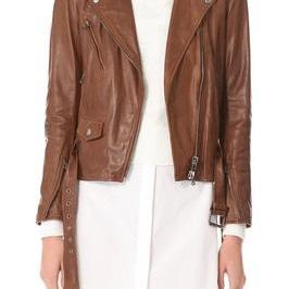 Women's Brown Biker Leather Jacket ..
