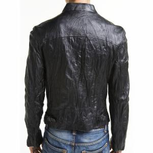 Men's biker leather jacket, black b..