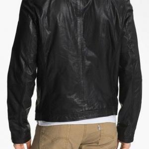 MENS MOTORCYCLE LEATHER JACKET, BLA..