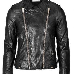 MEN'S BIKER LEATHER JACKET, BLACK J..