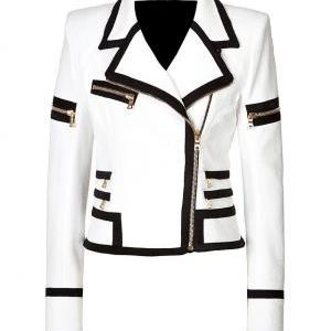 WOMEN'S BIKER LEATHER JACKET, WHITE..