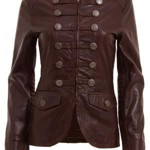 WOMENS BROWN MILITARY STYLE LEATHER..