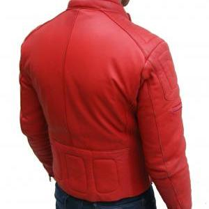 MENS BOMBER LEATHER JACKET, RED COL..