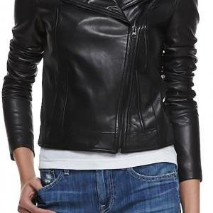 WOMEN WHITE LEATHER JACKET, WOMEN L..