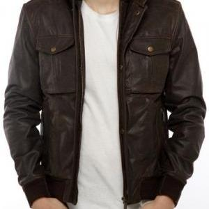 MEN STAND COLLAR LEATHER JACKET, ME..
