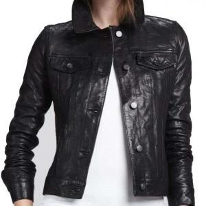 WOMEN LEATHER JACKET BLACK COLOR, F..