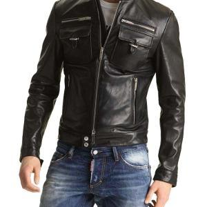 MEN'S BIKER LEATHER JACKET, SLIM FI..