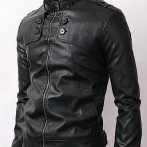 MEN STYLISH SLIM BLACK LEATHER JACK..