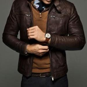 MEN SLIM FIT LEATHER JACKET,MEN JAC..