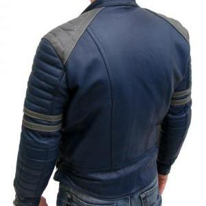 MEN BLUE LEATHER COLOR JACKET, MENS..