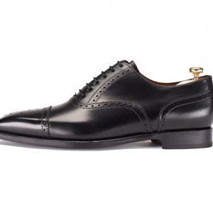 MENS LEATHER SHOES, BLACK HANDMADE ..