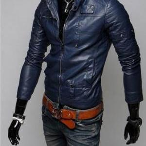 BLACK COLOR LEATHER JACKET MEN'S, S..