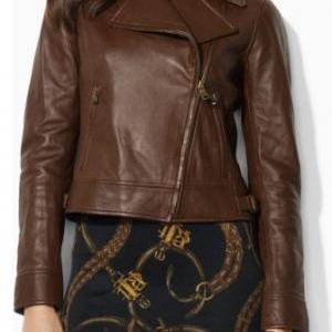 WOMENS BIKER JACKET, BROWN COLOR WO..