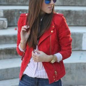 WOMENS BIKER JACKET, RED COLOR WOME..