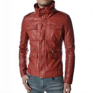 STAND COLLAR LEATHER JACKET, MEN BL..