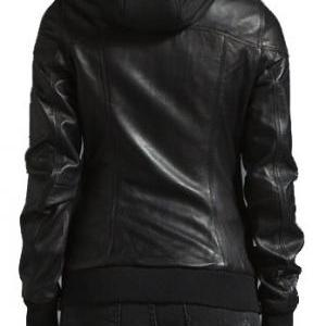 WOMEN DETACHABLE HOODED LEATHER JAC..
