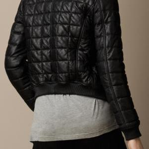 HANDMADE WOMEN QUILTED LEATHER JACK..